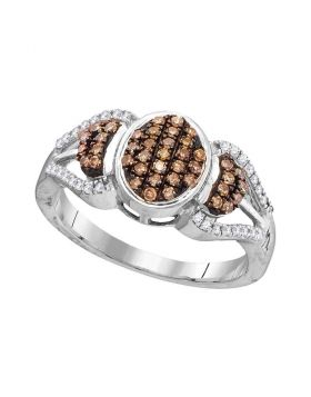 10kt White Gold Womens Round Cognac-brown Color Enhanced Diamond Oval Cluster Ring 1/3 Cttw