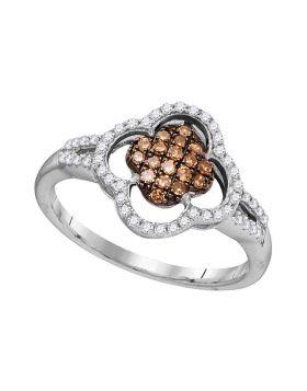 10kt White Gold Womens Round Cognac-brown Color Enhanced Diamond Quatrefoil Cluster Ring 1/3 Cttw
