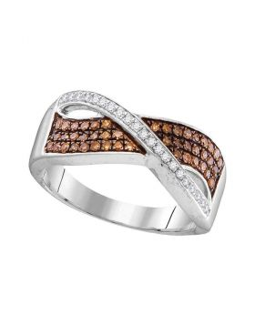 10kt White Gold Womens Round Cognac-brown Color Enhanced Diamond Crossover Band Ring 1/3 Cttw