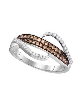 10kt White Gold Womens Round Cognac-brown Color Enhanced Diamond Band Ring 1/3 Cttw