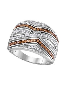 10kt White Gold Womens Round Brown Color Enhanced Diamond Striped Band Ring 1/2 Cttw