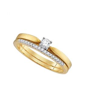 10kt Yellow Gold Womens Round Diamond Slender Bridal Wedding Engagement Ring Band Set 1/4 Cttw