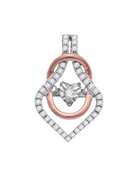 10kt Two-tone Gold Womens Round Diamond Moving Twinkle Fashion Pendant 1/5 Cttw