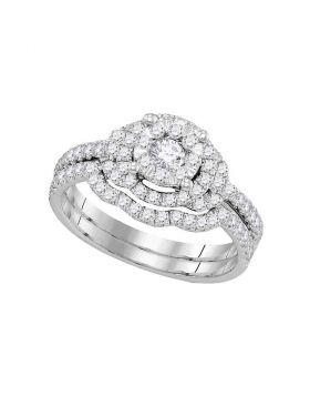 14kt White Gold Womens Diamond Round Bridal Wedding Engagement Ring Band Set 5/8 Cttw