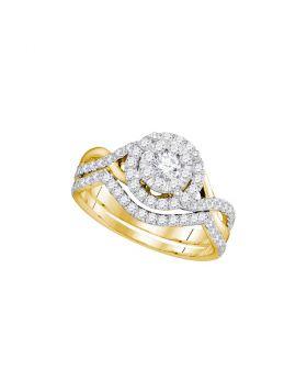 14k Yellow Gold Womens Round Diamond Bridal Wedding Engagement Ring Band Set 7/8 Cttw