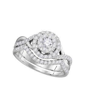14k White Gold Womens Round Diamond Bridal Wedding Engagement Ring Band Set 7/8 Cttw