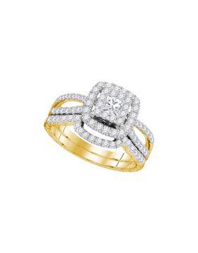 14K Yellow Gold Womens Princess Diamond Bridal Wedding Engagement Ring Band Set 1.00 Cttw