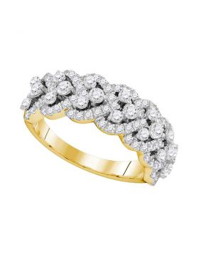14kt Yellow Gold Womens Round Diamond Spade-shape Band Ring 1-1/3 Cttw