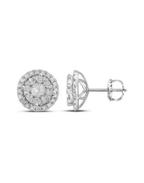 14kt White Gold Womens Round Diamond Concentric Circle Frame Cluster Earrings 1.00 Cttw