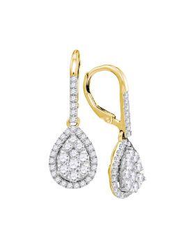 14kt Yellow Gold Womens Round Diamond Leverback Teardrop Dangle Earrings 1-3/8 Cttw