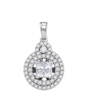 14kt White Gold Womens Princess Diamond Cluster Circle Frame Pendant 7/8 Cttw