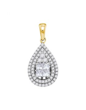 14kt Yellow Gold Womens Princess Diamond Teardrop Cluster Pendant 1.00 Cttw