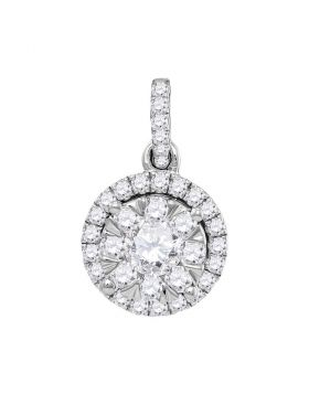 14kt White Gold Womens Round Diamond Frame Flower Cluster Pendant 7/8 Cttw
