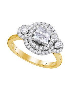 14kt Yellow Gold Womens Princess Diamond Circle Frame Cluster Bridal Wedding Engagement Ring 3/4 Cttw