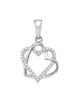 10kt White Gold Womens Round Diamond Heart Pendant 1/4 Cttw