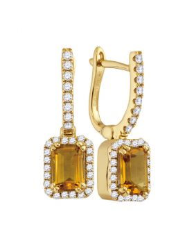 14kt Yellow Gold Womens Round Natural Citrine Diamond Rectangle Dangle Earrings 1-1/3 Cttw