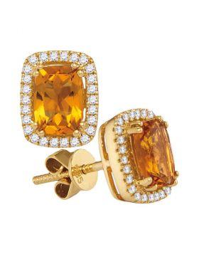 14kt White Gold Womens Cushion Citrine Solitaire Diamond Frame Earrings 1.00 Cttw