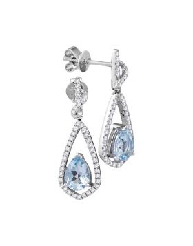 14kt White Gold Womens Pear Natural Aquamarine Diamond Dangle Earrings 1/3 Cttw