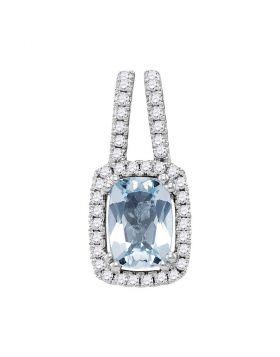 14kt White Gold Womens Cushion Aquamarine Solitaire Diamond Frame Pendant 1.00 Cttw
