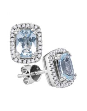 14kt White Gold Womens Cushion Aquamarine Solitaire Diamond Stud Earrings 1-7/8 Cttw
