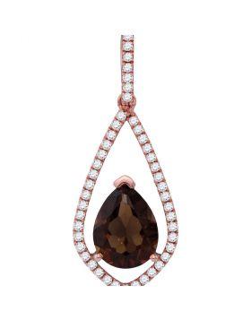 14kt Rose Gold Womens Pear Smoky Quartz Teardrop Diamond Accent Pendant 1-7/8 Cttw