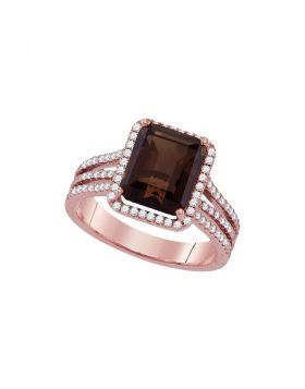 14kt Rose Gold Womens Emerald-cut Smoky Quartz Diamond Solitaire Ring 3-3/4 Cttw
