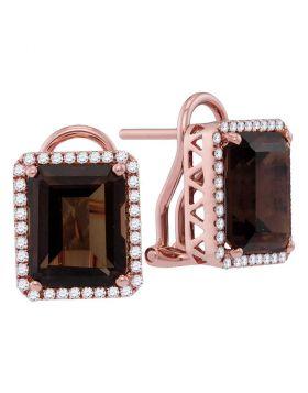 14kt Rose Gold Womens Emerald-shape Smoky Quartz Diamond Stud Earrings 6-7/8 Cttw