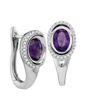 14kt White Gold Womens Oval Natural Amethyst Diamond Hoop Earrings 1/4 Cttw