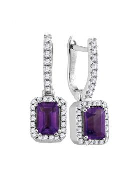 14kt White Gold Womens Cushion Amethyst Solitaire Diamond Frame Hoop Dangle Earrings 1/3 Cttw
