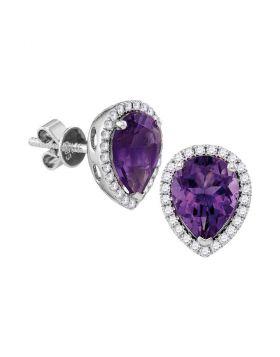 14kt White Gold Womens Pear Amethyst Solitaire Diamond Frame Stud Earrings 1-1/2 Cttw