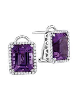 14kt White Gold Womens Emerald Amethyst Stud Diamond Accent Earrings 2-3/4 Cttw