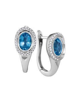 14kt White Gold Womens Oval Natural Blue Topaz Diamond Hoop Earrings 1/4 Cttw