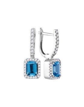 14kt White Gold Womens Cushion Blue Topaz Solitaire Diamond Frame Hoop Dangle Earrings 1/3 Cttw