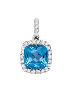 14kt White Gold Womens Cushion Blue Topaz Solitaire Diamond Pendant 1-7/8 Cttw