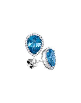 14kt White Gold Womens Pear Blue Topaz Solitaire Diamond Frame Stud Earrings 1-3/4 Cttw