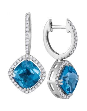 14kt White Gold Womens Cushion Natural Blue Topaz Diamond Dangle Earrings 5-1/2 Cttw