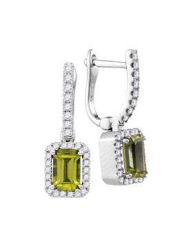 14kt White Gold Womens Natural Emerald Peridot Diamond Dangle Earrings 1-5/8 Cttw