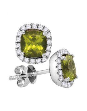 14kt White Gold Womens Princess Peridot Solitaire Diamond Frame Earrings 1.00 Cttw
