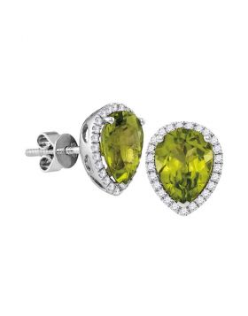 14kt White Gold Womens Pear Peridot Solitaire Diamond Frame Earrings 1-5/8 Cttw