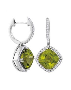 14kt White Gold Womens Princess Peridot Solitaire Diagonal Square Diamond Frame Earrings 2.00 Cttw