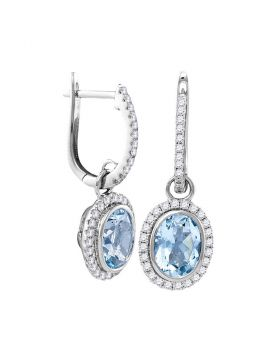 14kt White Gold Womens Round Natural Aquamarine Diamond Oval Dangle Earrings 2-3/8 Cttw