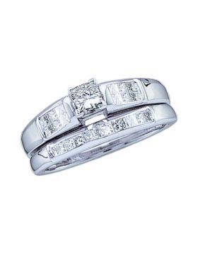 14kt White Gold Womens Princess Diamond Bridal Wedding Engagement Ring Band Set 1/2 Cttw