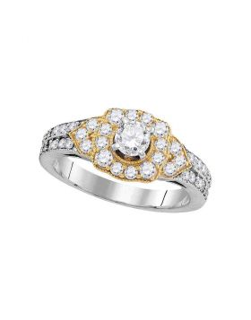 14kt White Gold Womens Round Diamond 2-tone Bridal Wedding Engagement Ring 1.00 Cttw