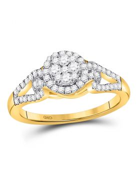 10kt Yellow Gold Womens Round Diamond Circle Frame Cluster Ring 1/2 Cttw