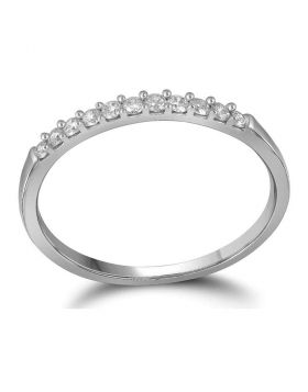 10kt White Gold Womens Round Diamond Wedding Band Ring 1/6 Cttw