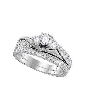 14kt White Gold Womens Round Diamond 3-Stone Bridal Wedding Engagement Ring Band Set 7/8 Cttw