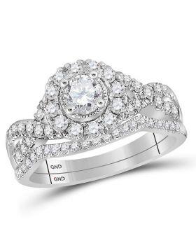 14kt White Gold Womens Round Diamond Twist Bridal Wedding Engagement Ring Set 1.00 Cttw
