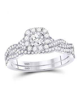 14kt White Gold Womens Round Diamond Twist Bridal Wedding Engagement Ring Band Set 5/8 Cttw