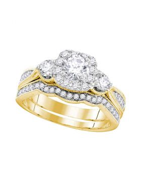 14k Yellow Gold Womens Round Diamond Bridal Wedding Engagement Ring Band Set 1.00 Cttw