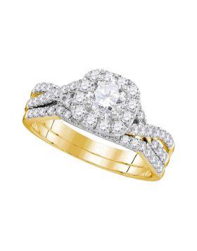 14kt Yellow Gold Womens Round Diamond Halo Twist Bridal Wedding Engagement Ring Band Set 1.00 Cttw